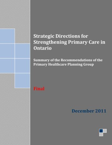 Strategic Directions for Strengthening Primary Care in Ontario - CQCO