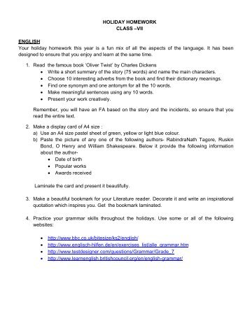 HOLIDAY HOMEWORK CLASS –VII ENGLISH Your holiday ...