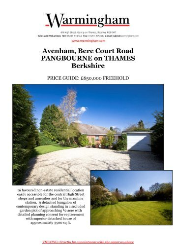 Avenham, Bere Court Road PANGBOURNE on ... - Warmingham