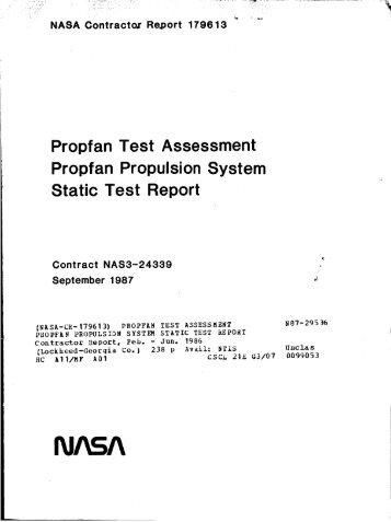 Propfan Test Assessment Propfan Propulsion ... - CAFE Foundation