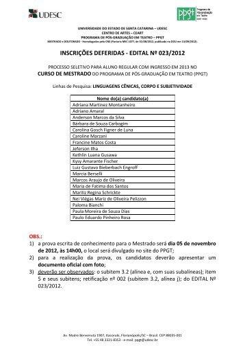 DEFERIMENTOS Mestrado - para DIVULGAR - Ceart - Udesc