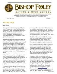 March 2013 Newsletter - Bishop Foley Catholic High School