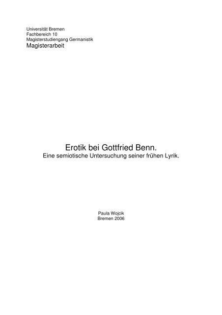 Erotik Bei Gottfried Benn Metaphorikde