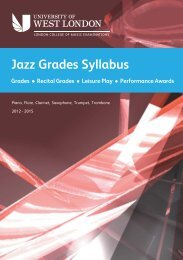 LCM Exams - jazz grades syllabus - University of West London