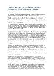 La Mesa Sectorial de Sanidad en Andalucia concluye sin acuerdo ...