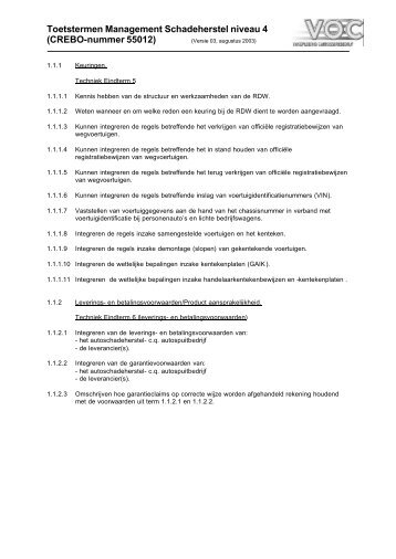 Toetstermen Theorie Management Schadeherstel (niveau 4) - VOC