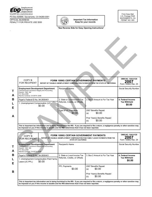 Irs Form 1099g Employment Development Department State Of