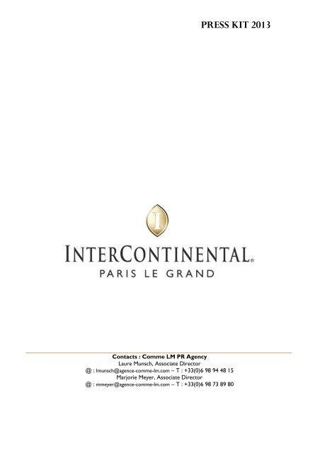 Press Kit InterContinental Paris Le Grand 2013 - Le Café de la Paix