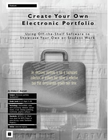 Create Your Own Electronic Portfolio - Dr. Helen Barrett's Electronic ...