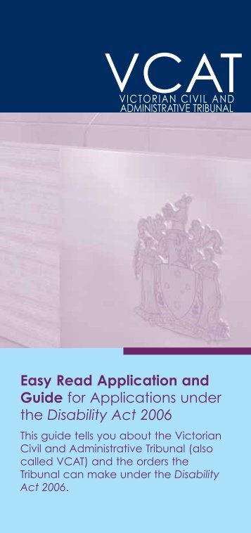 Easy read Guide and Application under the Disability Act (1.1MB ...