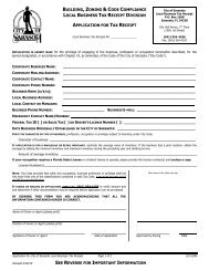 Local Business Tax Receipt Application - City of Sarasota