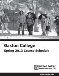 Spring 2013 Schedule - Gaston College