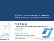 Prudent use of Business Architecture - BCS - Health Scotland