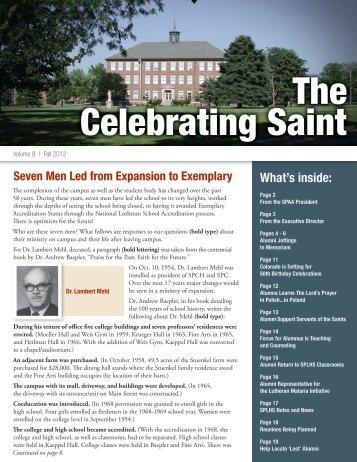 Alumni Newsletter Fall 2012 (PDF) - Saint Paul Lutheran High ...