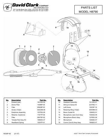 model h8790 parts list david clark company incorporated?quality=85 h3332 h3392 parts list and schematic david clark company david clark headset wiring schematic at bayanpartner.co