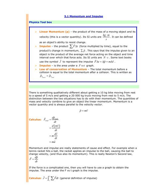 SPH Unit 5.1 Momentum and Impulse - The Burns Home Page
