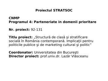 Structura de clasa si stratificare sociala in Romania - Prezentare