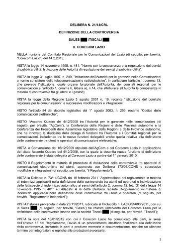 Delibera 21/13/CRL - Corecom