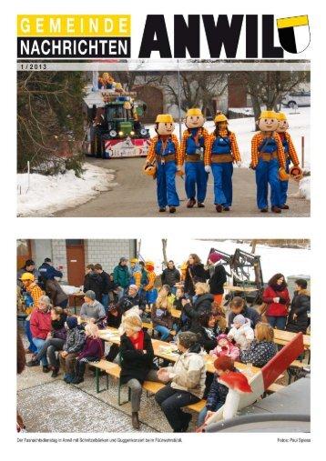 Gemeinde Anwil: Gemeindenachrichten 1/2013