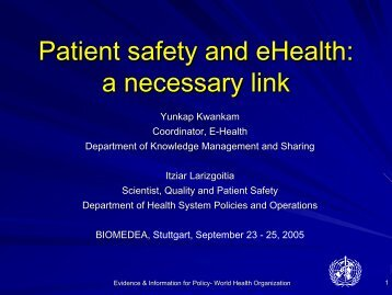 e-Health and Patient Safety - biomedea