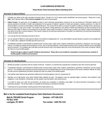 MetLife Dental Claim Form