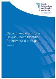Recommendations for a Unique Health Identifier for ... - hiqa.ie
