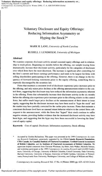 information asymmetry corporate disclosure and the Original paper corporate social responsibility disclosure and information asymmetry: the role of family ownership jennifer martı´nez-ferrero1 • la´zaro rodrı´guez-ariza2 •.
