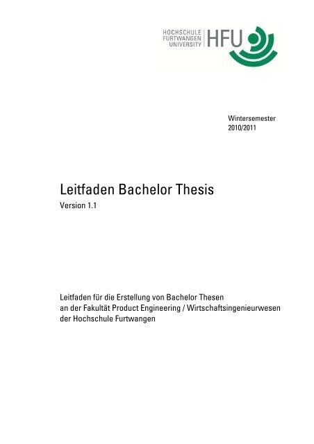 hs furtwangen thesis ordnung