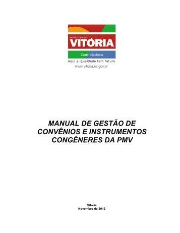 manual de gestão de convênios e instrumentos congêneres da pmv