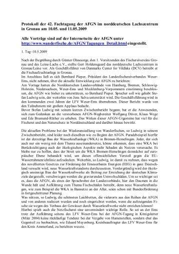 Protokoll der 42. Fachtagung der AFGN im ... - Wanderfische