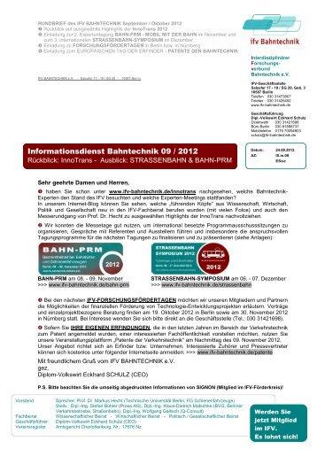 Informationsdienst Bahntechnik 09 / 2012 - Herzlich Willkommen ...