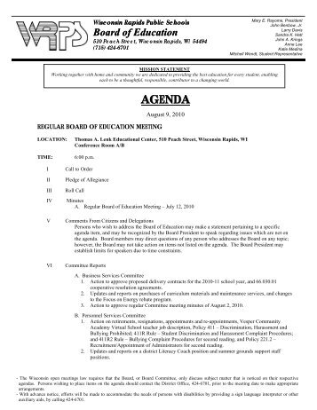 Board Agenda for 8-9-10 - Wisconsin Rapids Public Schools