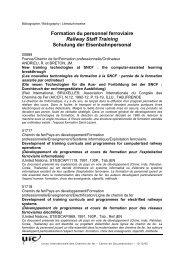 Formation du personnel ferroviaire Railway Staff Training ... - UIC