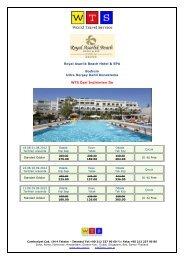 Royal Asarlık Beach Hotel ayrıntılı fiyat listesi için tıklayınız