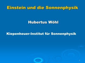 Einstein und die Sonnenphysik