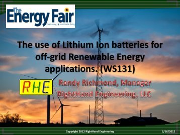 The use of Lithium Ion batteries for off-grid Renewable - RightHand ...