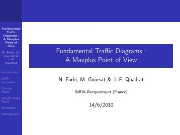 Fundamental Traffic Diagrams : A Maxplus Point of View - Free
