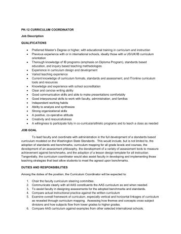 Coordinator Job Description - Retsd.Mb.Ca