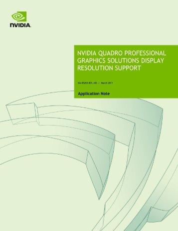 NVIDIA Quadro Professional Graphics Solutions Display ... - PNY