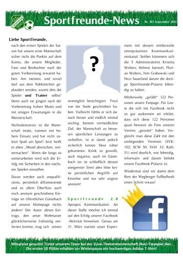 Sportfreunde-News Nr. 30 - September 2011
