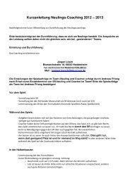 Kurzanleitung Neulingscoaching 2012-2013