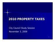 2010 PROPERTY TAXES - City of Tacoma