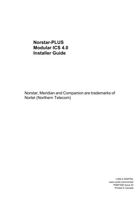 Norstar-PLUS Modular ICS 4 0 Installer Guide - Wedophones