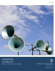 MARKETING & PUBLICITY - University of Toronto Press Publishing