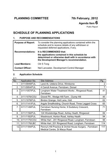 schedule of planning applications