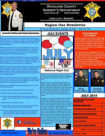 Region One Newsletter - Richland County Sheriff's Department