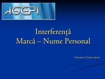 Interferenţă Marcă – Nume Personal - agepi