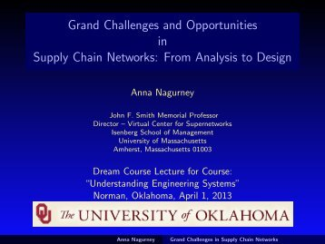 Supply Chain - The Virtual Center for Supernetworks - University of ...