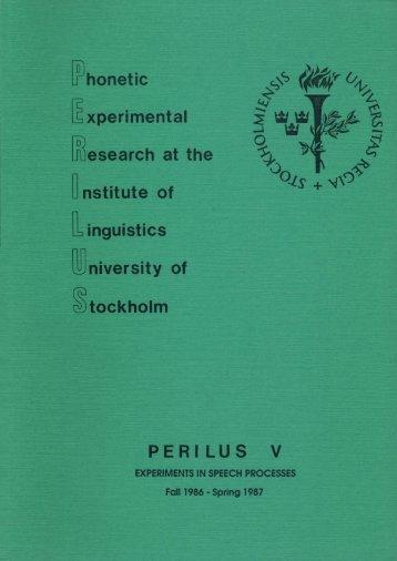 perilus v - Stockholms universitet