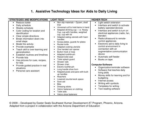 1  Assistive Technology Ideas for Aids to Daily Living - AAC